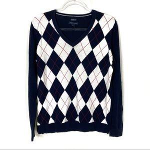 Tommy Hilfiger   Navy V-Neck Argyle Sweater